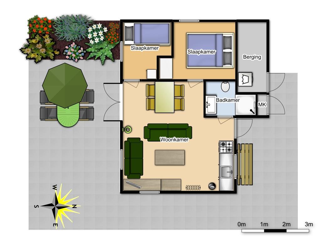 plattegrond 4p huisje #145 schoorl