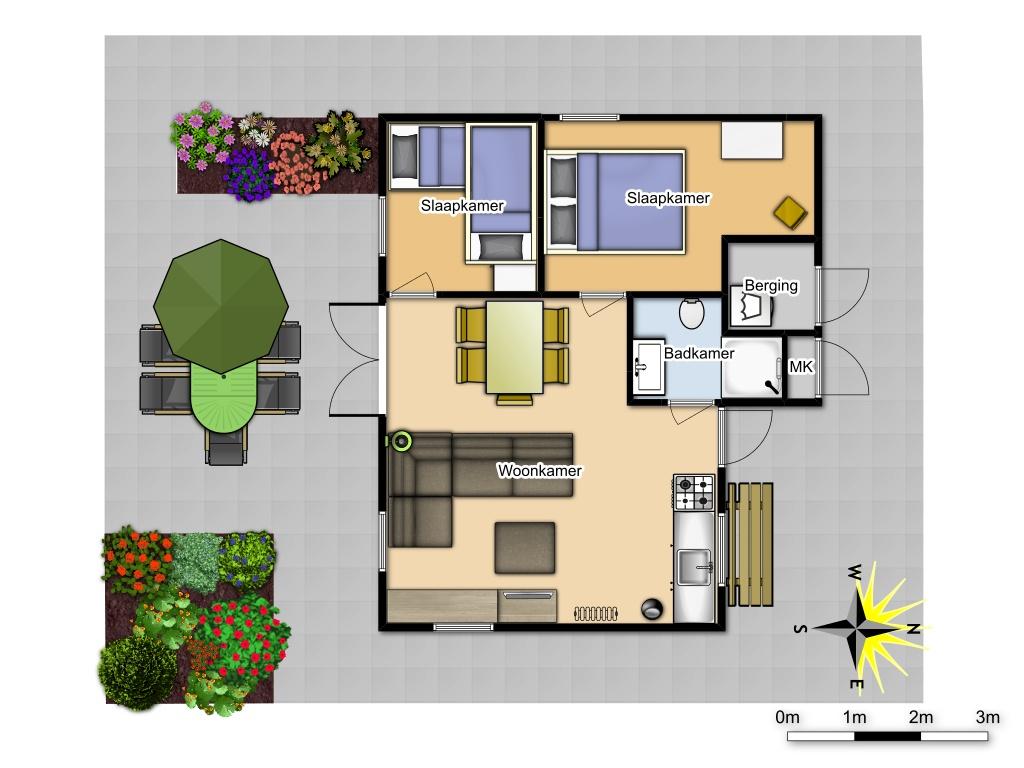 plattegrond - 5 persoons huisje #144